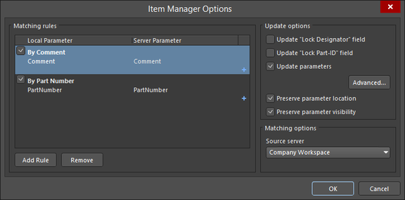 Create simple or complex rules to accurately match local components to suitable components in the Workspace.