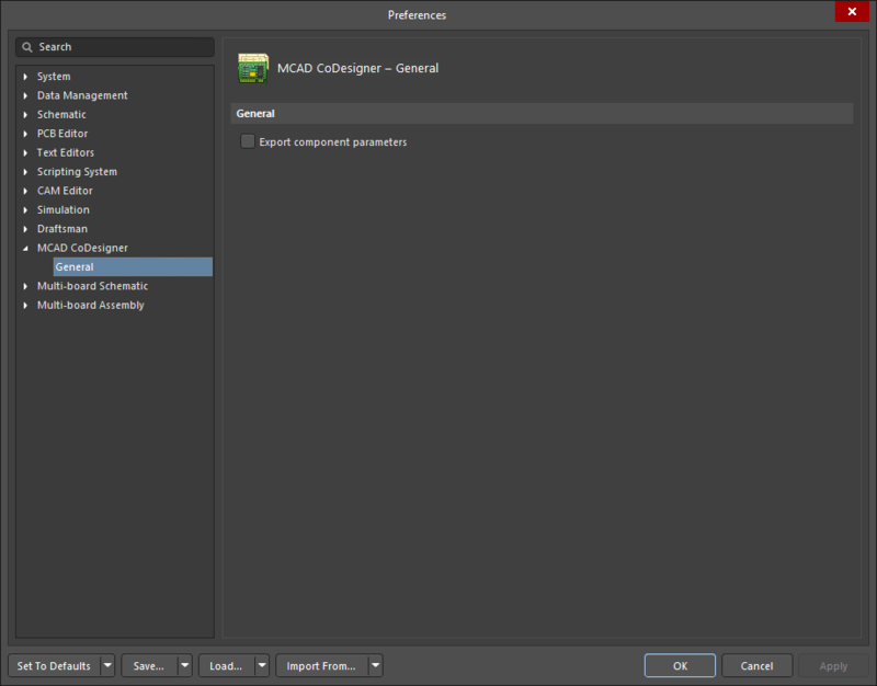The MCAD CoDesigner – General page of the Preferences dialog
