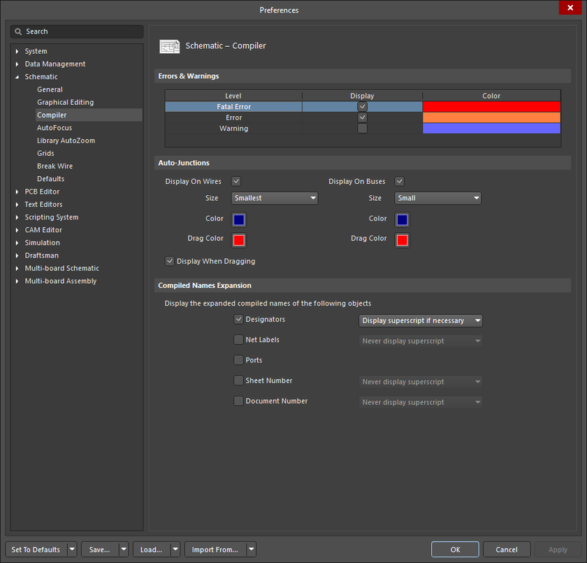 The Schematic – Compiler page of the Preferences dialog