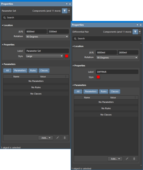 The Parameter Set dialogon the first image, and the Parameter Set mode of the Properties panel on the second image