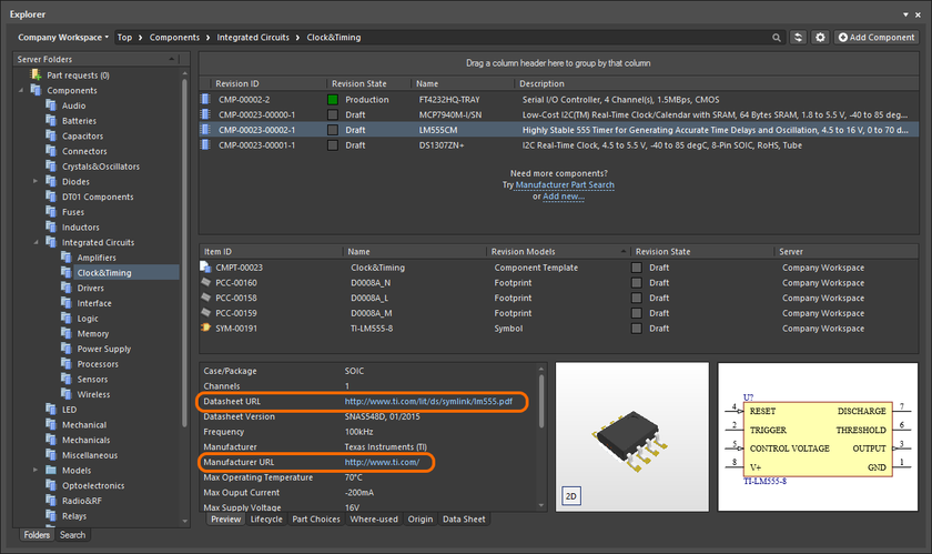 Example clickable Parameter URLs on the Preview aspect view tab for a Component Item in the Explorer panel.