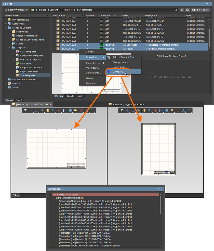 Example comparison of revisions of two different Schematic Template Items.