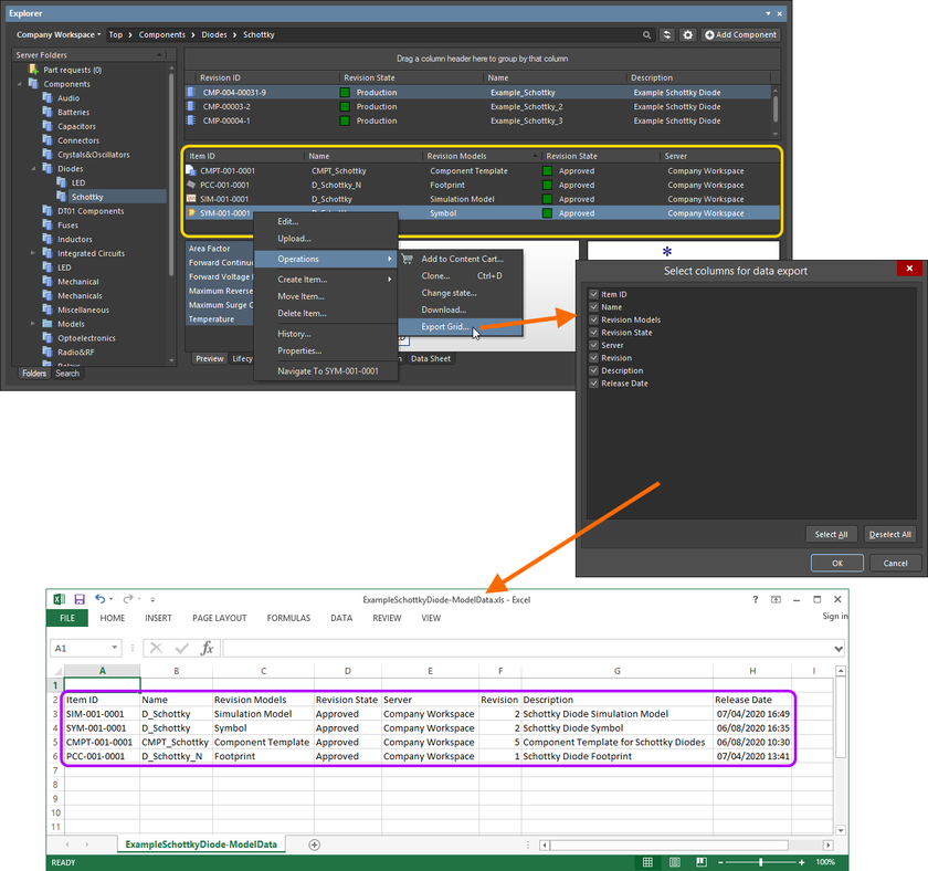 An example of exporting data – the linked models for a selected Component Item revision – to an Excel-formatted file.