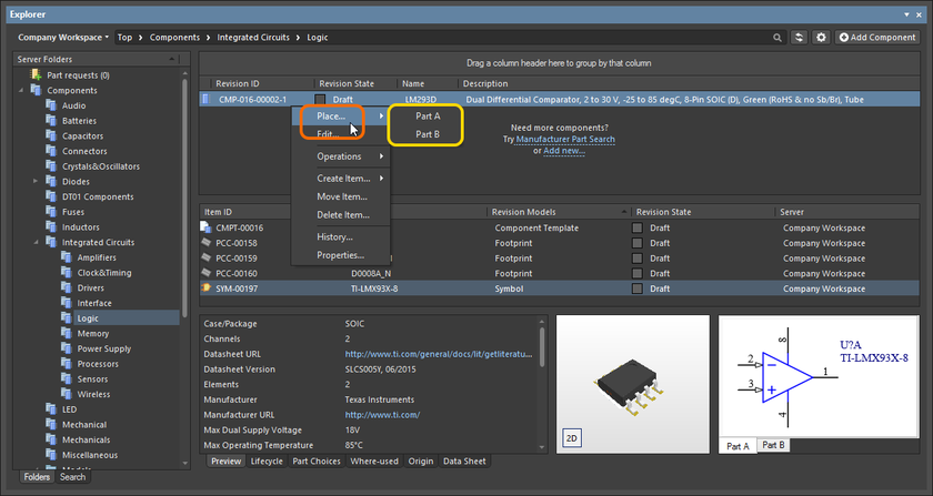 A placement sub-menu offers all parts in a multi-part component.