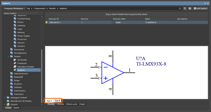 Browsing the parts of a multi-part component, at the child symbol level.