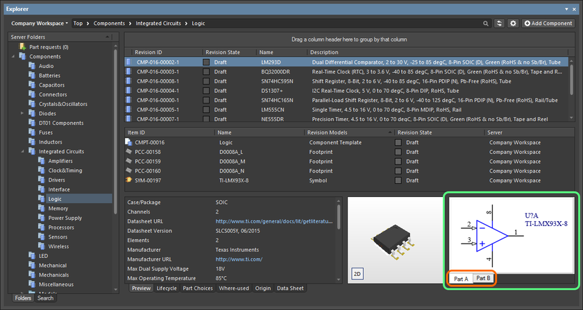 Browsing the parts of a multi-part component, at the component level.