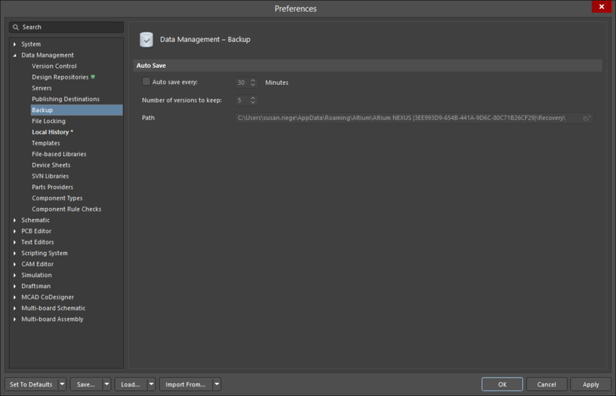 The Data Management - Backup page of the Preferences dialog