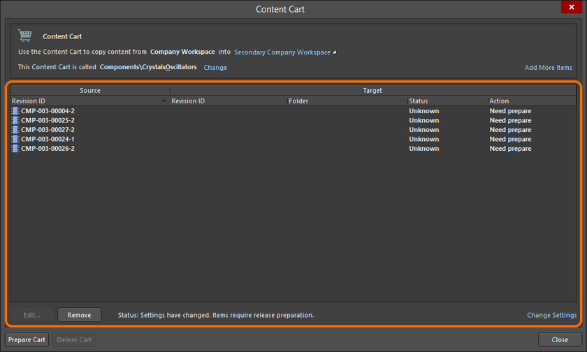 The main acquisition grid, listing all Item Revisions chosen for acquisition from the source Workspace.