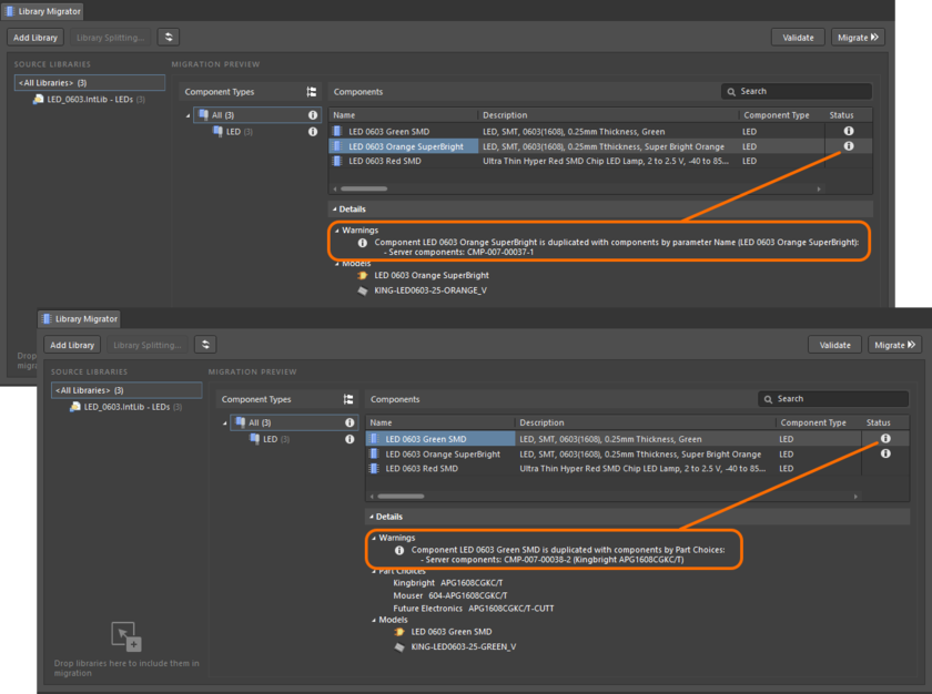 Two potential duplications detected by the Validate process, where the component's Name (top image) or its Part Choice (lower image) already exist in Workspace components.