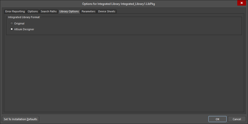 The Library Options tab of theProject Optionsdialog