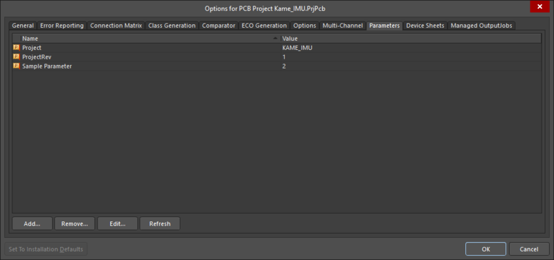 The Parameter tab of the Project Options dialog.