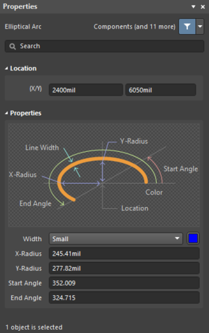 The Elliptical Arc dialog, on the left, and theElliptical Arc mode of the Properties panel on the right