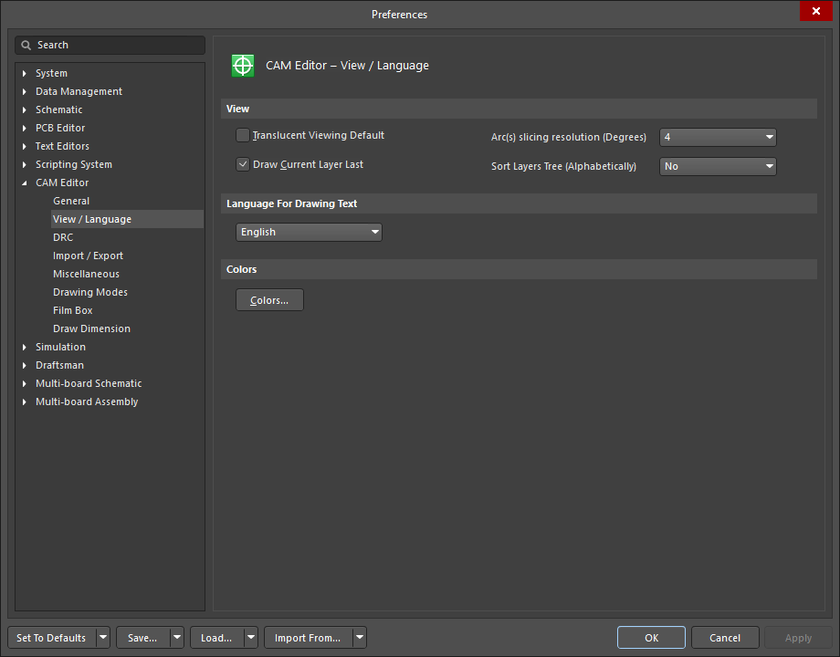 The CAM Editor - View / Language page of the Preferences dialog