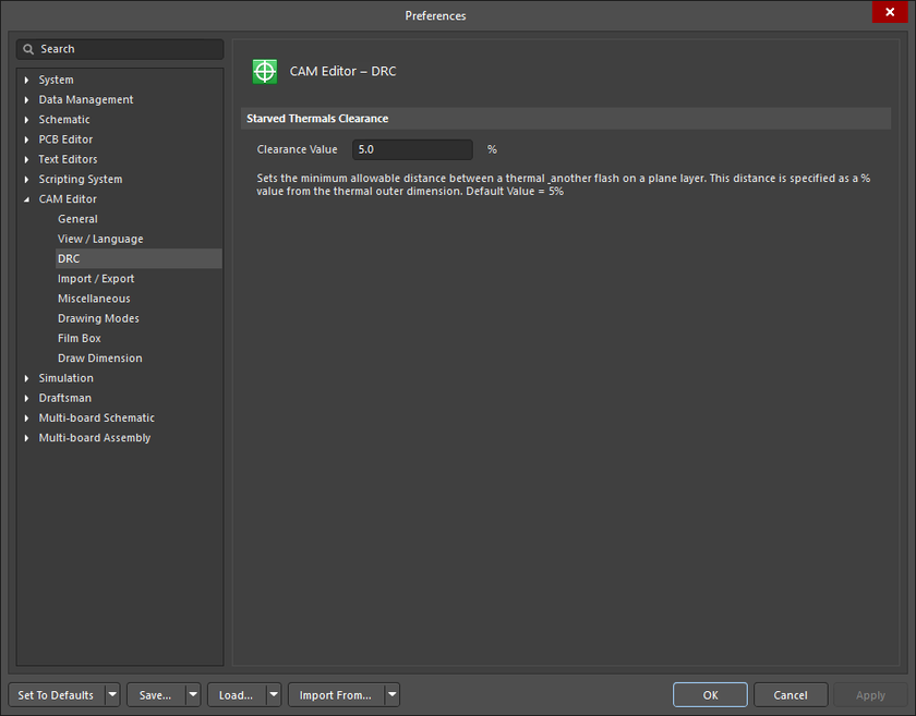 The CAM Editor - DRC page of the Preferences dialog