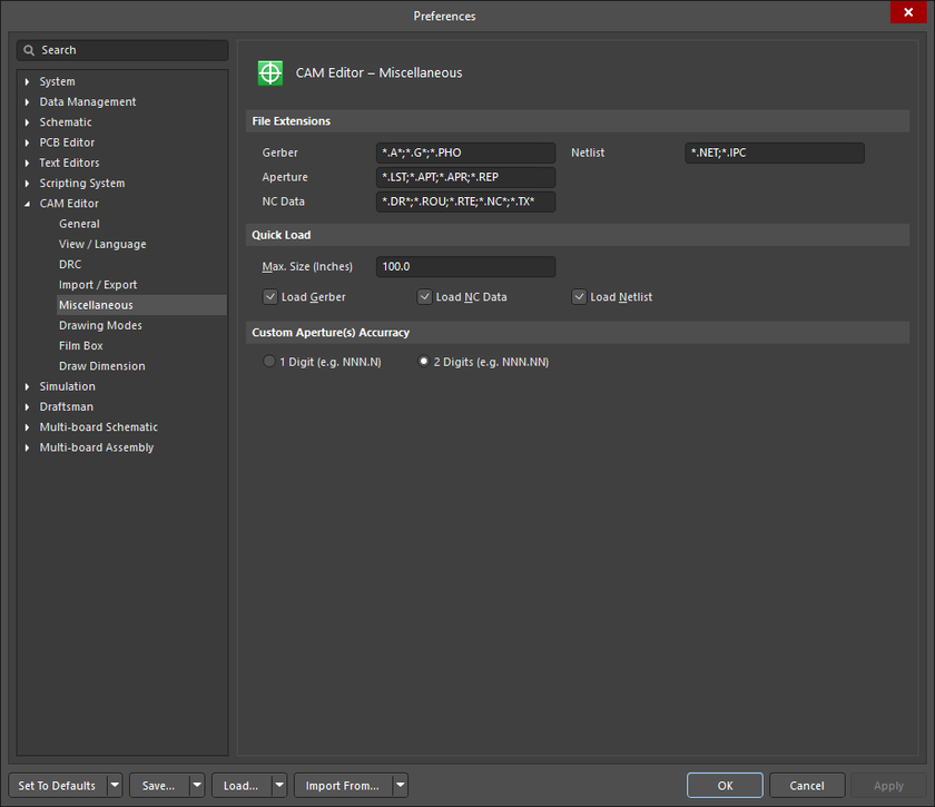 The CAM Editor - Miscellaneous page of the Preferences dialog