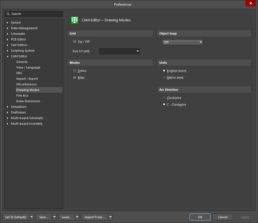 The CAM Editor - Drawing Mode page of the Preferences dialog