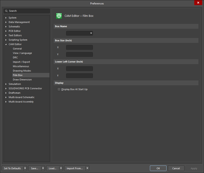 The CAM Editor - Film Box page of the Preferences dialog