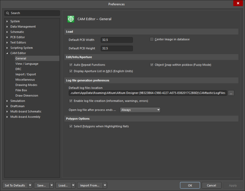 The CAM Editor - General page of the Preferences dialog