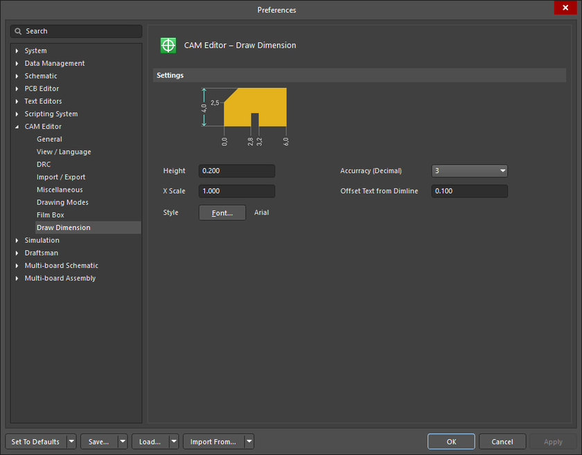 The CAM Editor - Draw Dimension page of the Preferences dialog