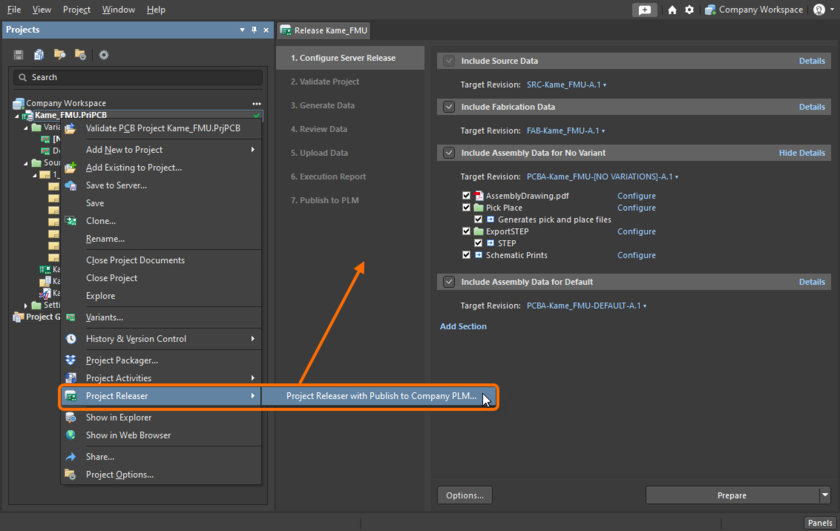 Accessing theprocess for publishing to a PLM instance as part of the Project Releaser