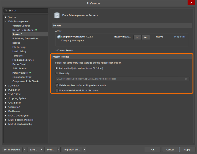 Additional preferences relating to the project release process.