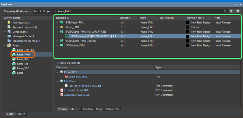 Viewing the released data for the project, directly in the Workspace, courtesy of the Explorer panel.