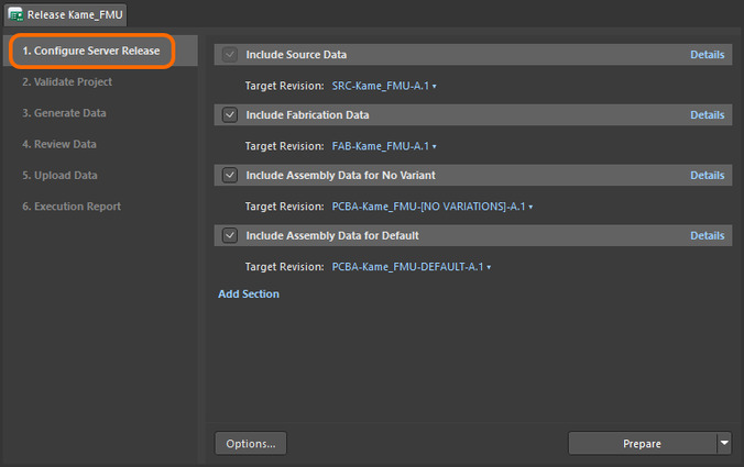 Stage 1 of the project release process – configuring what is to be included in the release (what data to generate).