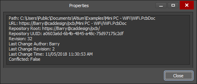 File indcated by link icon and the cooresponding Properties panel that contains information on the latest VCS revision
