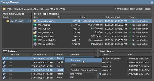 The Compare command in the Storage Manager panel