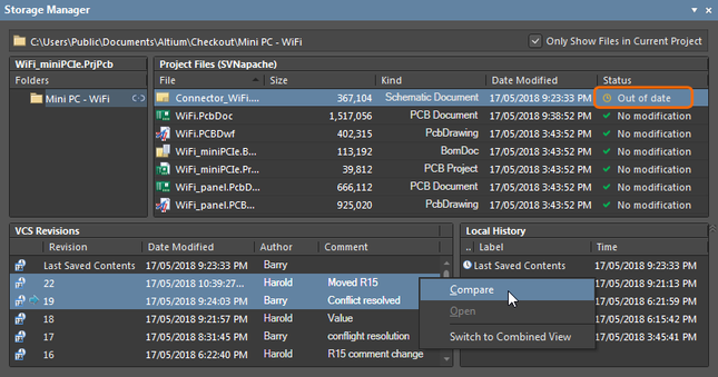 Local revision is indicated in the Storage Manager panel as Out of date