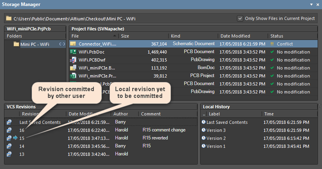 Git VCS Revisions in the Storage Manager panel