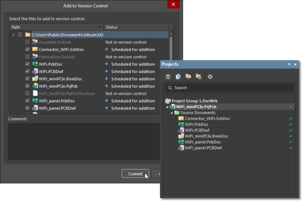 Inclusion of certain files added under version control