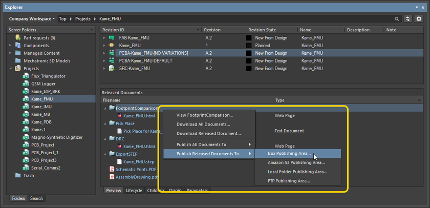 Access publishing-related commands for a particular revision of an Item from within the Explorer panel.