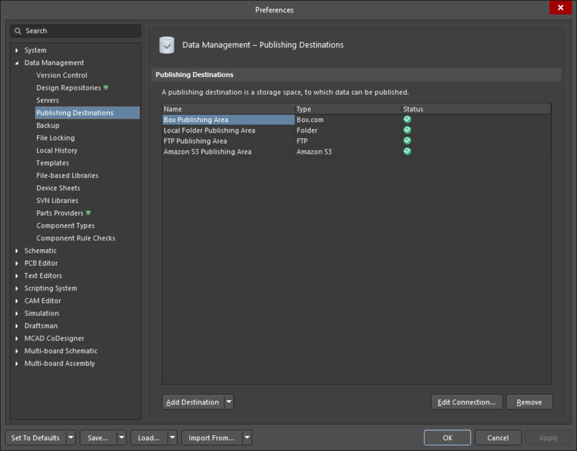 The Data Management – Publishing Destinations page of the Preferences dialog