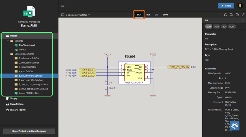 Workspace's Web Viewer interface provides an immersive and interactive experience for reviewing, for example, the source schematic and PCB documents in your design project. Shown here is a schematic in Altium 365's Web Viewer interface – hover over the image to see the PCB (in 3D).