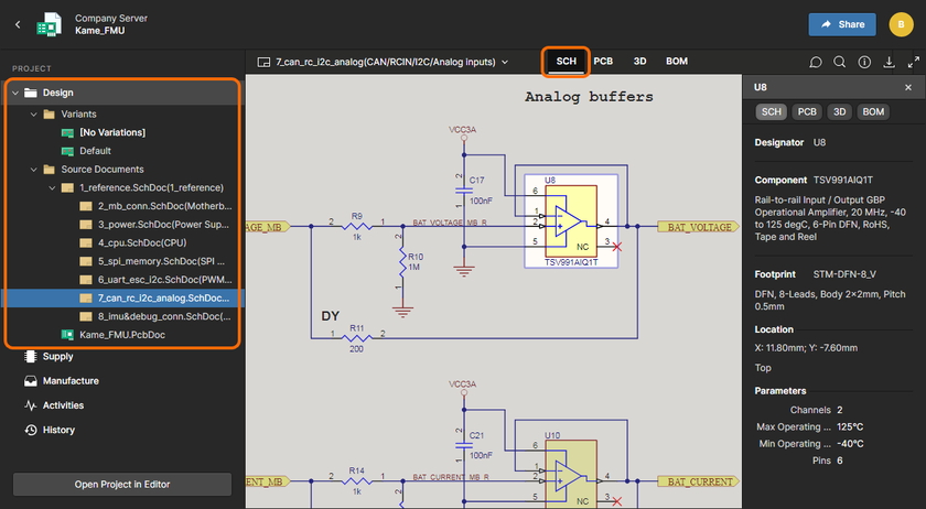 Workspace's Web Viewer interface provides an immersive and interactive experience for reviewing, for example, the source schematic and PCB documents in your design project. Shown here is a schematic – hover over the image to see the PCB (in 3D).