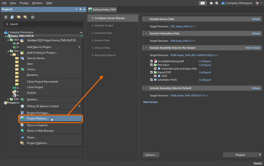 The Release view – the user interface to the Project Releaser.