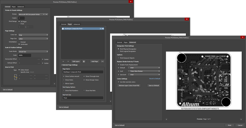 The Print dialog when accessing it for a PCB 2D print output.