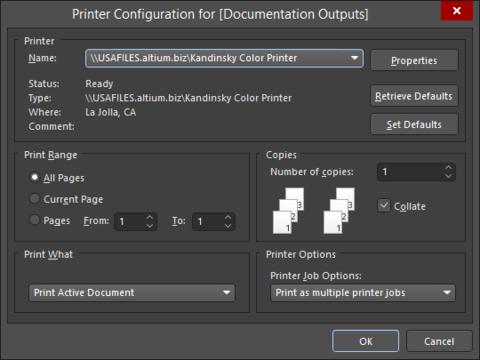 The Printer Configurationfor dialog