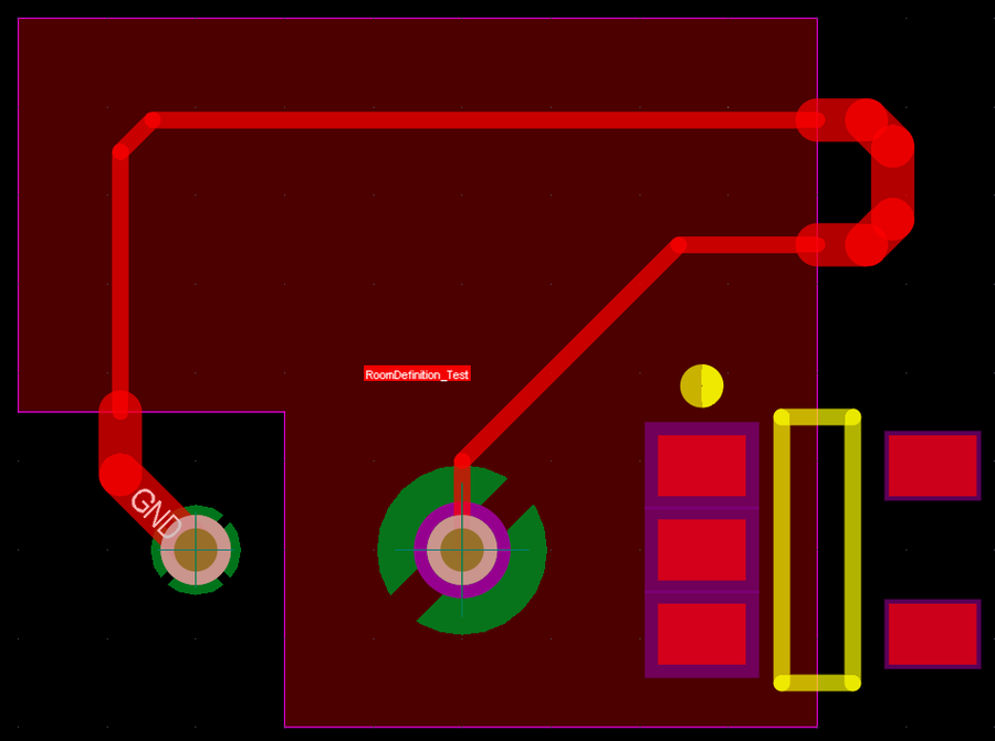 Note that within the room, the routing width, the plane connection style, and the solder mask expansion have different values from the values outside of the room.