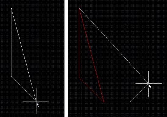 Look-Ahead is off. With the next click, both of the solid lines become polygon edges. Note the solid return line. It shows how the polygon will be closed if youterminatepolygon placement.