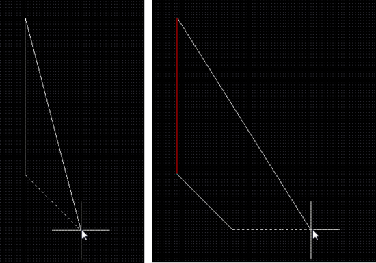 Look-Ahead is on. With the next mouse click, the solid line becomes a polygon edgebut not the dotted line. Note the solid return line. It shows how the polygon will be closed if you terminatepolygon placement.