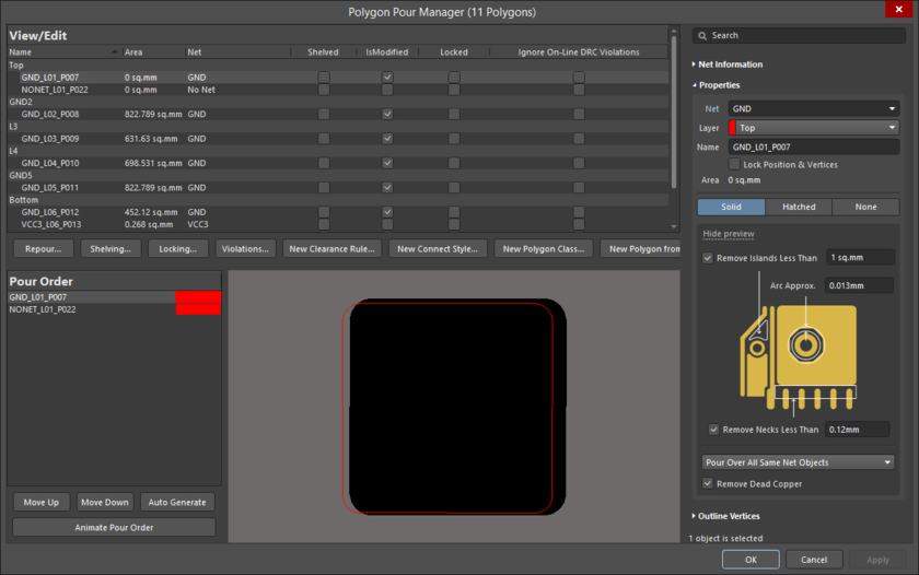 The Polygon Pour Manager dialog gives you full control over all the polygons in the design.