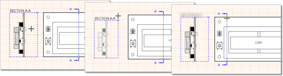 Drag a selected Board Section View or its scaling/cut nodes to modify the view's graphic representation.