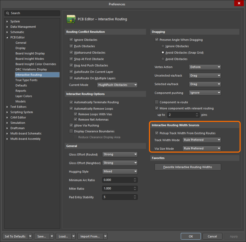 The Interactive Routing Width Sources options determine what size is used when you start a route.