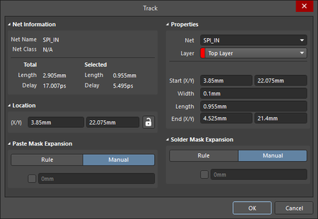 The Track dialog (the first image) and the Track mode of the Properties panel (the second image)
