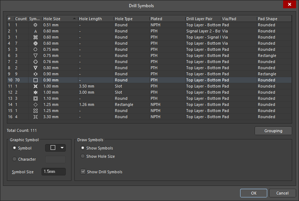 Configure the assignment of Symbol-to-hole size in the Drill Symbols dialog. The assignments are stored in the PCB file
