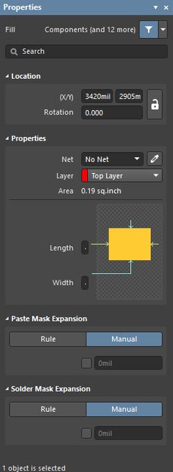 TheFill dialog on the left and theFill mode of the Properties panel on the right