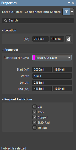 The Keepout - Track dialog on the left, and theKeepout - Track mode of the Properties panel, on the right.