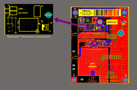 Place a Design View to show a specific area of the board. This example has been scaled to 200%.